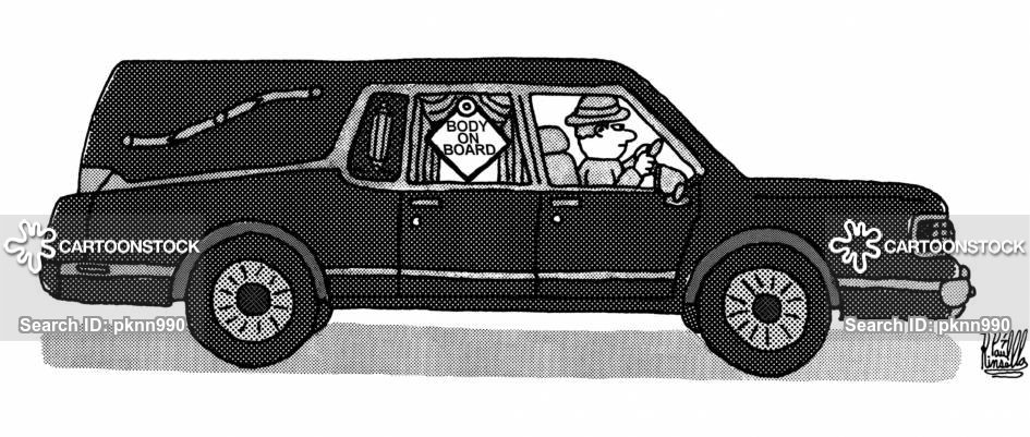 Hearse with sign 'Body On Board'.
